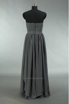 A-Line Sweetheart Long Grey Chiffon Bridesmaid Dresses/Wedding Party Dresses BD010731