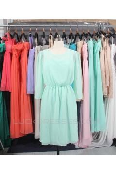 A-Line 3/4 Sleeve Short Chiffon Bridesmaid Dresses/Wedding Party Dresses BD010736