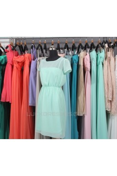 A-Line Short Sleeve Short Chiffon Bridesmaid Dresses/Wedding Party Dresses BD010737