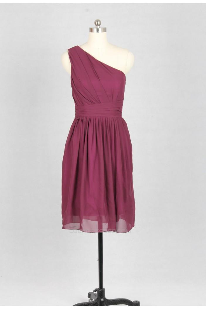 A-Line One-Shoulder Short Chiffon Bridesmaid Dresses/Wedding Party Dresses BD010738