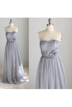A-Line Strapless Long Grey Chiffon Bridesmaid Dresses/Wedding Party Dresses BD010742