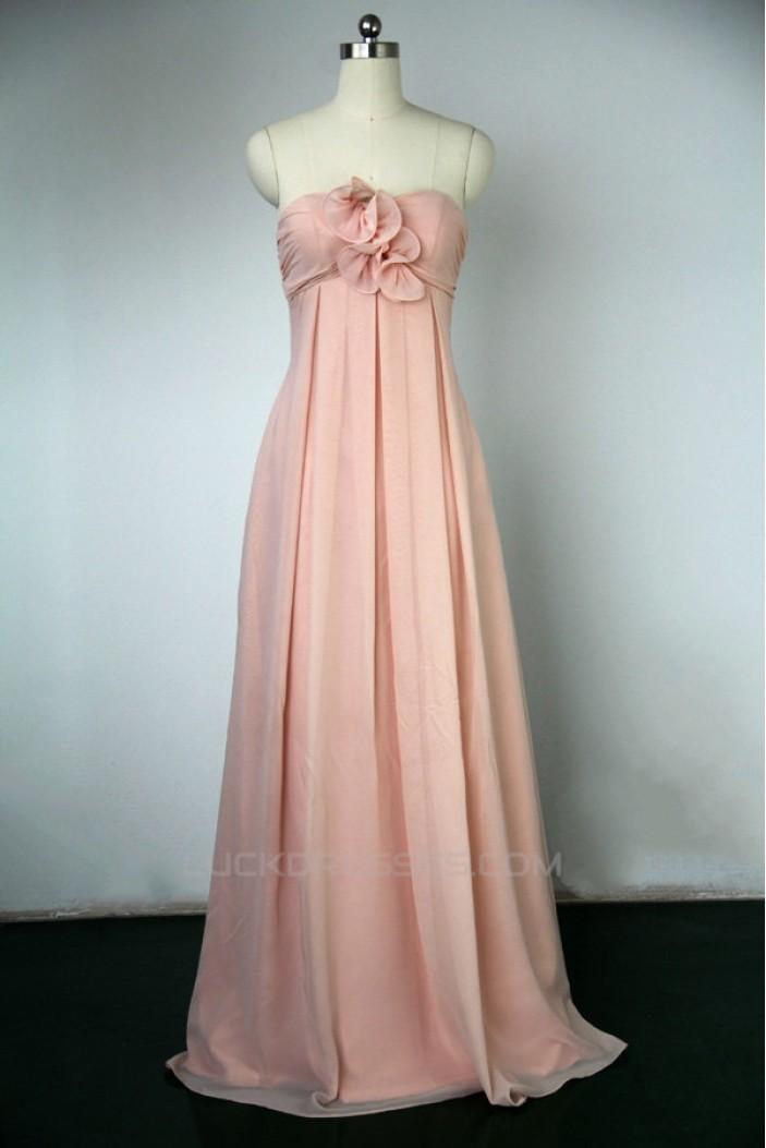 Empire Sweetheart Long Pink Chiffon Bridesmaid Dresses/Wedding Party Dresses BD010746