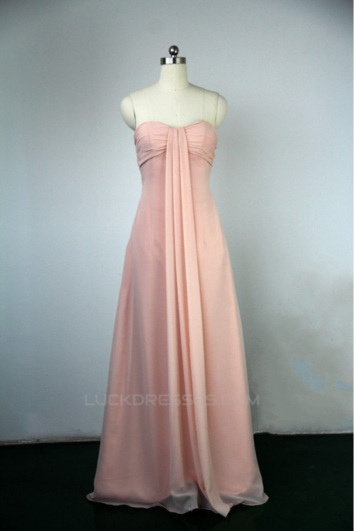 Empire Sweetheart Long Pink Chiffon Bridesmaid Dresses/Wedding Party Dresses BD010747