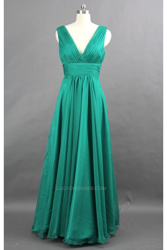 A-Line V-Neck Long Green Chiffon Bridesmaid Dresses/Wedding Party Dresses BD010749