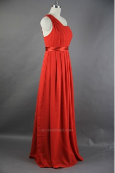 A-Line One-Shoulder Long Chiffon Bridesmaid Dresses/Wedding Party Dresses BD010751
