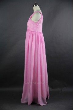 Empire One-Shoulder Long Chiffon Bridesmaid Dresses/Wedding Party Dresses/Maternity Dresses BD010753