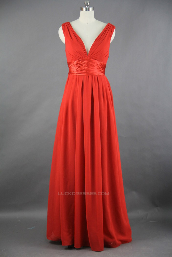 A-Line V-Neck Long Chiffon Bridesmaid Dresses/Wedding Party Dresses BD010754