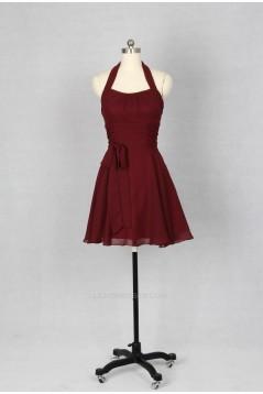 A-Line Halter Short Chiffon Bridesmaid Dresses/Wedding Party Dresses BD010756