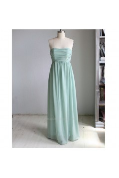 A-Line Strapless Long Chiffon Bridesmaid Dresses/Wedding Party Dresses BD010758
