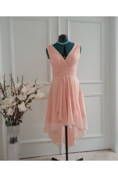 High Low V-Neck Short Chiffon Bridesmaid Dresses/Wedding Party Dresses BD010762