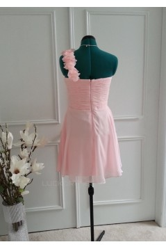 A-Line One-Shoulder Short Pink Chiffon Bridesmaid Dresses/Wedding Party Dresses BD010766