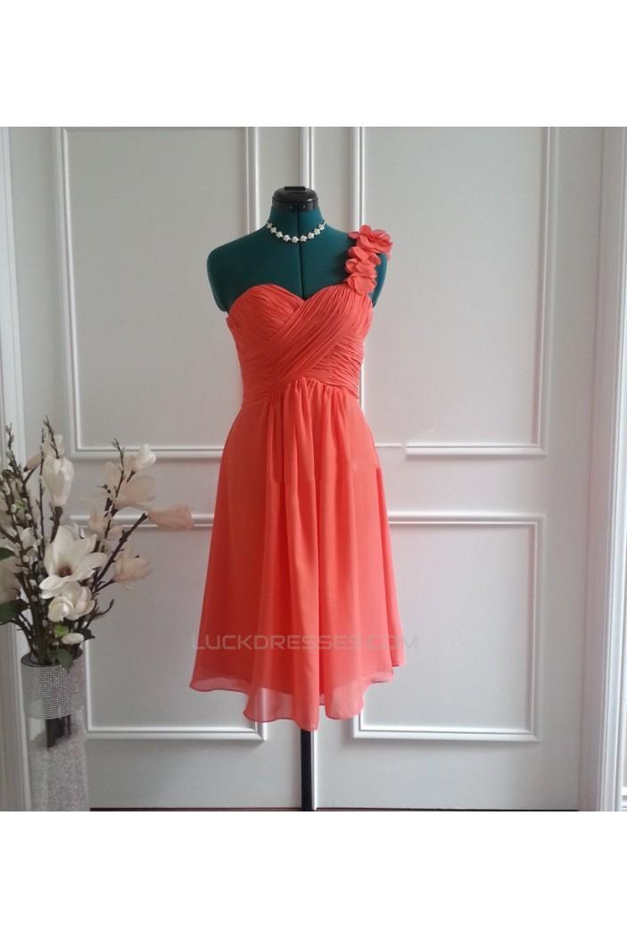 A-Line One-Shoulder Short Chiffon Bridesmaid Dresses/Wedding Party Dresses BD010768