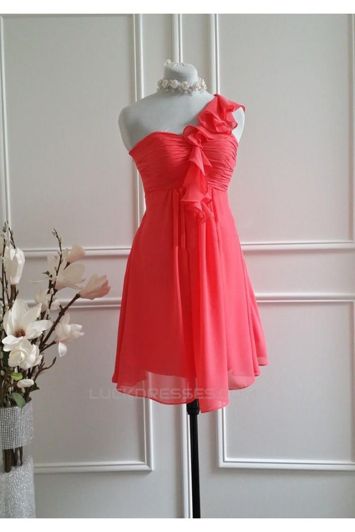 A-Line One-Shoulder Short Chiffon Bridesmaid Dresses/Wedding Party Dresses BD010769