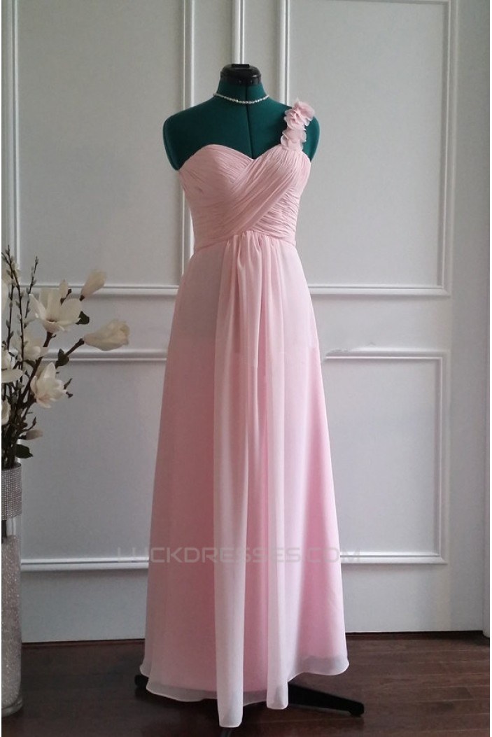 A-Line One-Shoulder Long Pink Chiffon Bridesmaid Dresses/Wedding Party Dresses BD010772