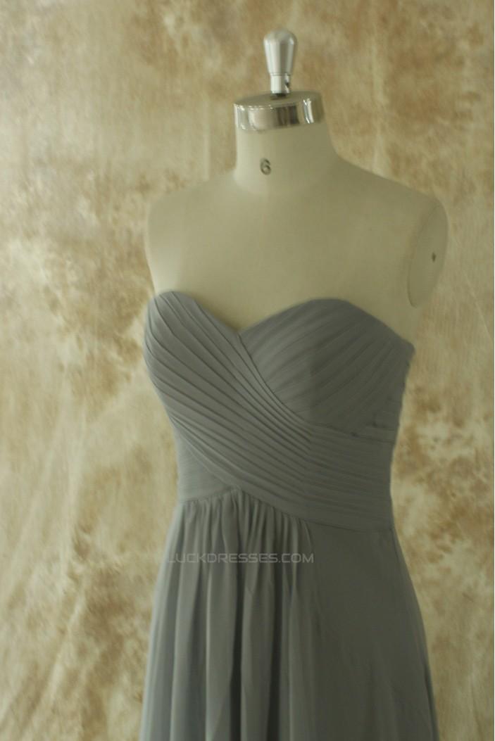 A-Line Sweetheart Long Grey Chiffon Bridesmaid Dresses/Wedding Party Dresses BD010774