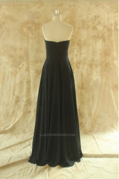A-Line Sweetheart Long Black Chiffon Bridesmaid Dresses/Wedding Party Dresses BD010776