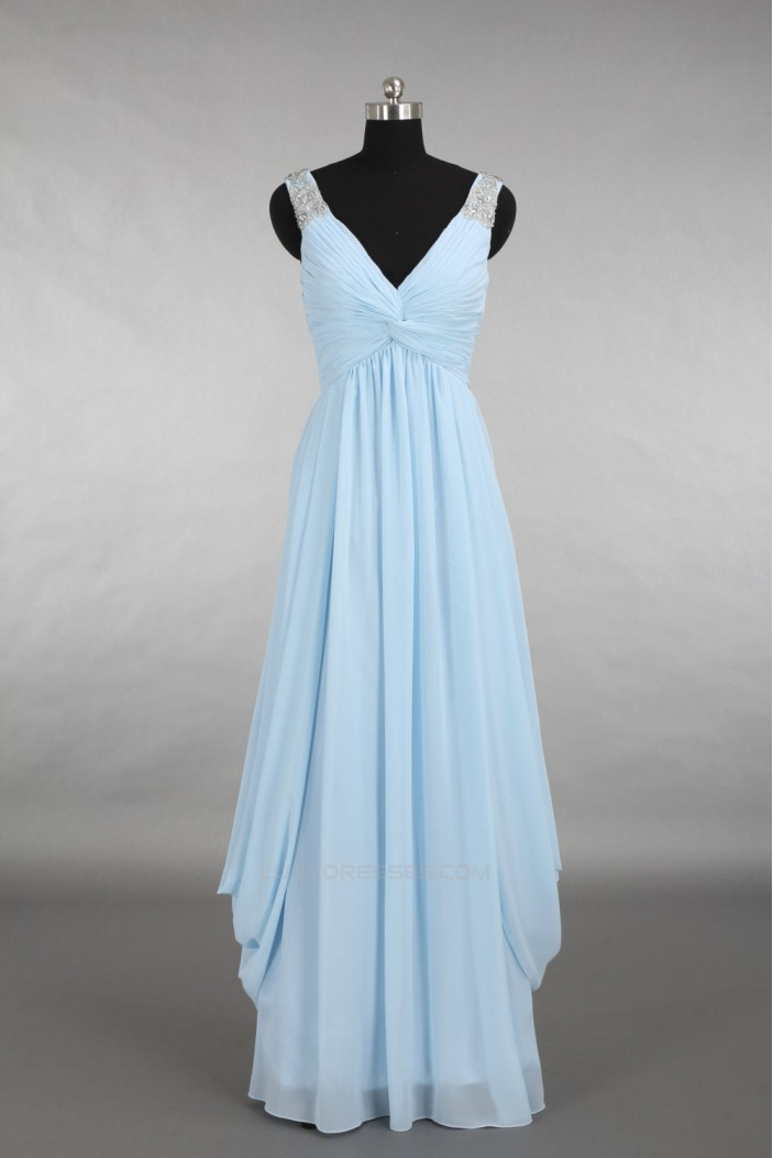 A-Line V-Neck Beaded Long Blue Chiffon Bridesmaid Dresses/Wedding Party Dresses BD010778
