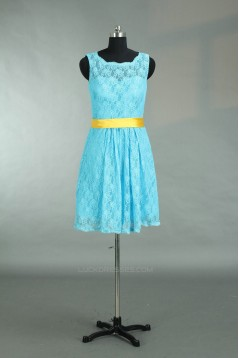 A-Line Short Blue Lace Bridesmaid Dresses/Wedding Party Dresses BD010783