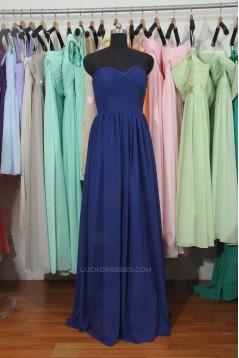 A-Line Sweetheart Long Blue Chiffon Bridesmaid Dresses/Wedding Party Dresses BD010785