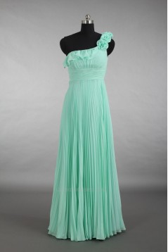 Empire One-Shoulder Pleated Long Green Chiffon Bridesmaid Dresses/Wedding Party Dresses/Maternity Dresses BD010786