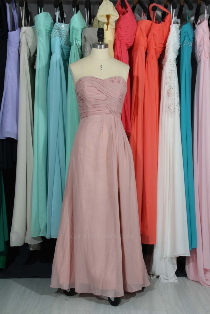 A-Line Sweetheart Long Chiffon Bridesmaid Dresses/Evening Dresses BD010787