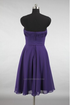A-Line Strapless Short Purple Chiffon Bridesmaid Dresses/Evening Dresses BD010790