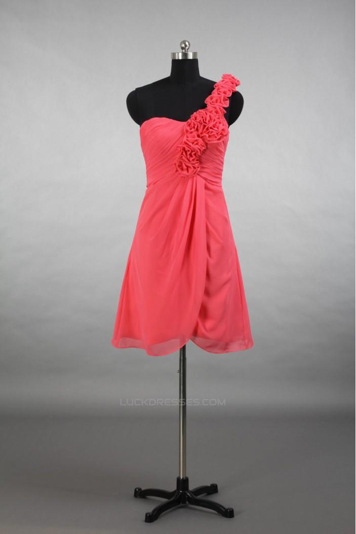A-Line One-Shoulder Short Chiffon Bridesmaid Dresses/Evening Dresses BD010791