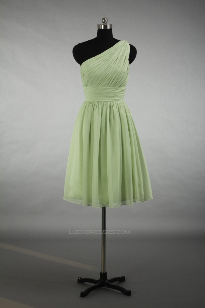 A-Line One-Shoulder Short Chiffon Bridesmaid Dresses/Evening Dresses BD010792
