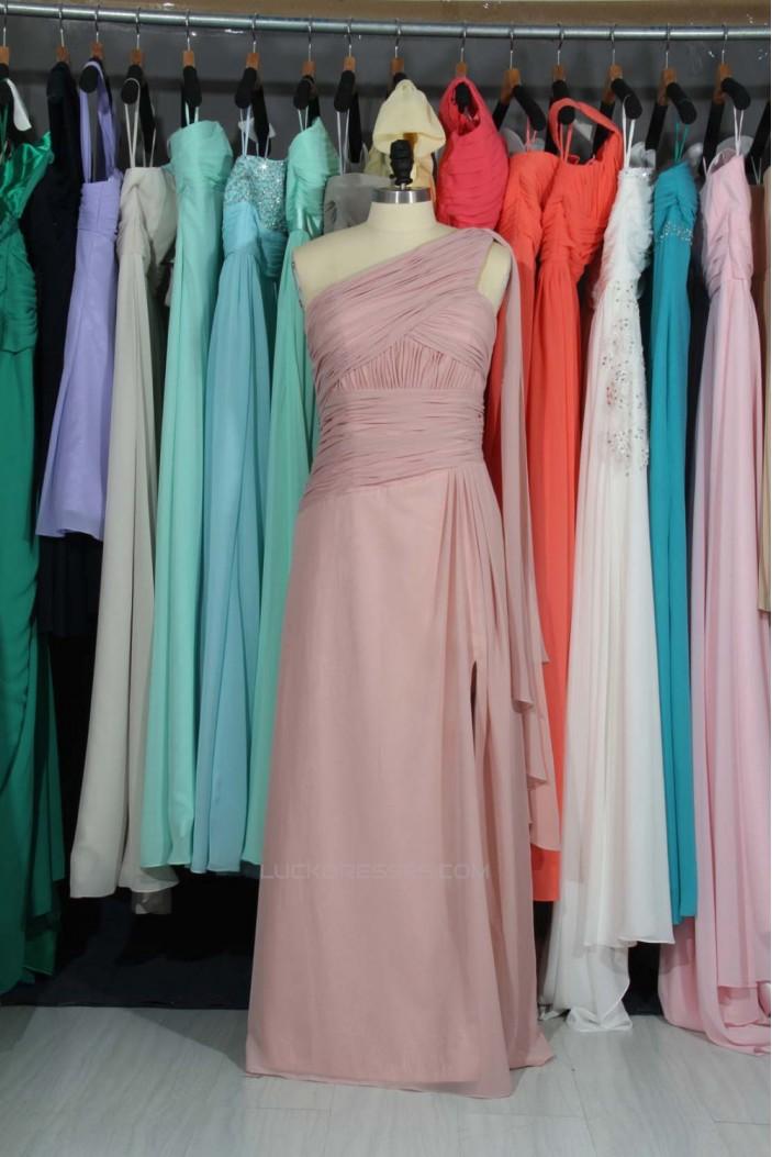 A-Line One-Shoulder Long Chiffon Bridesmaid Dresses/Evening Dresses BD010795