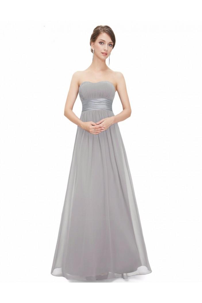 A-Line Strapless Long Chiffon Bridesmaid Dresses/Evening Dresses BD010796