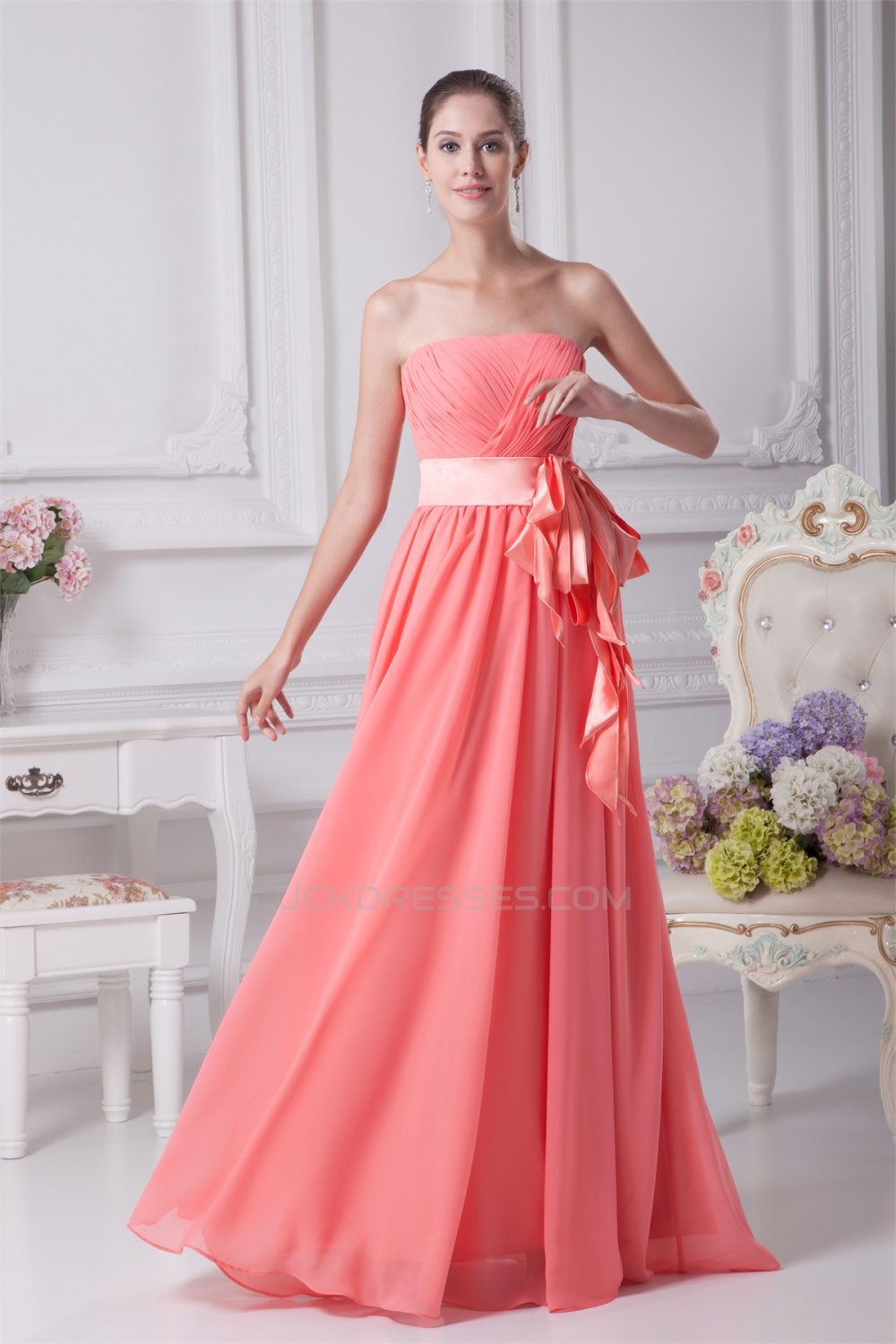 Gorgeous floor length navy chiffon dress with multi color