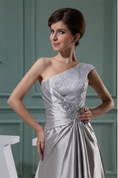 A-Line Beading One-Shoulder Sleeveless Lace Silk like Satin and Lace Best Long Bridesmaid Dresses 02010004