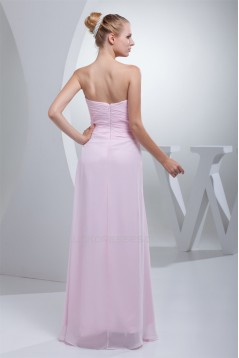 Beading Sweetheart Sleeveless Sheath/Column Long Pink Chiffon Bridesmaid Dresses 02010007