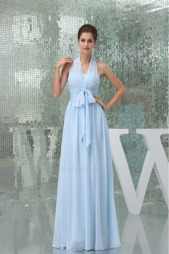 Sleeveless Halter Sheath/Column Long Blue Bridesmaid Dresses 02010008