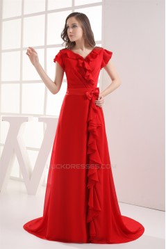 Brush Sweep Train V-Neck Chiffon Silk like Satin Long Red Bridesmaid Dresses with Sleeves 02010010