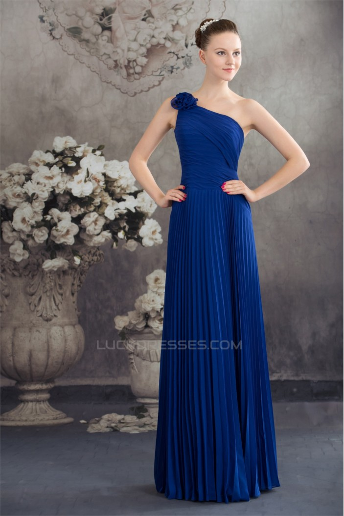 Chiffon Pleated Floor-Length One-Shoulder Sleeveless Long Blue Bridesmaid Dresses 02010011