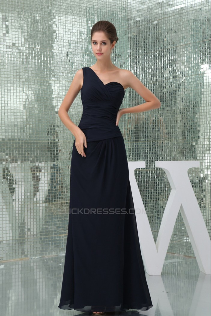 Chiffon Ruffles One-Shoulder Sheath/Column Long Black Bridesmaid Dresses 02010013