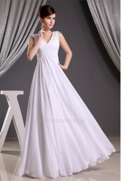 A-Line Beading Floor-Length Long White Bridesmaid Dresses 02010014