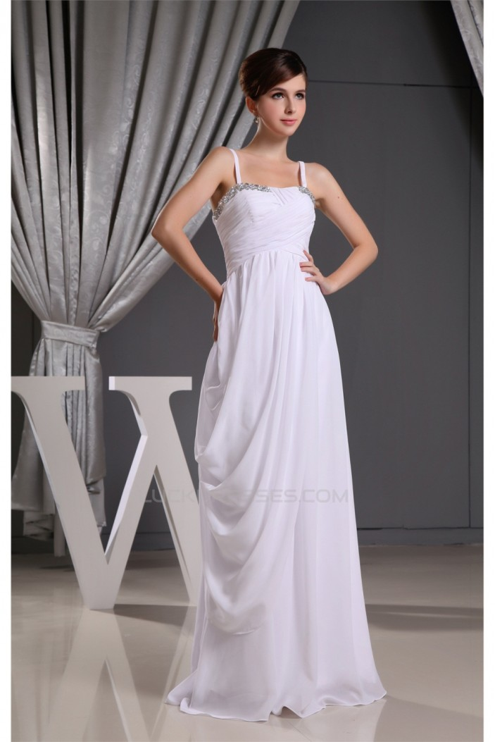 Long White Spaghetti Strap Sleeveless Bridesmaid Dresses 02010015