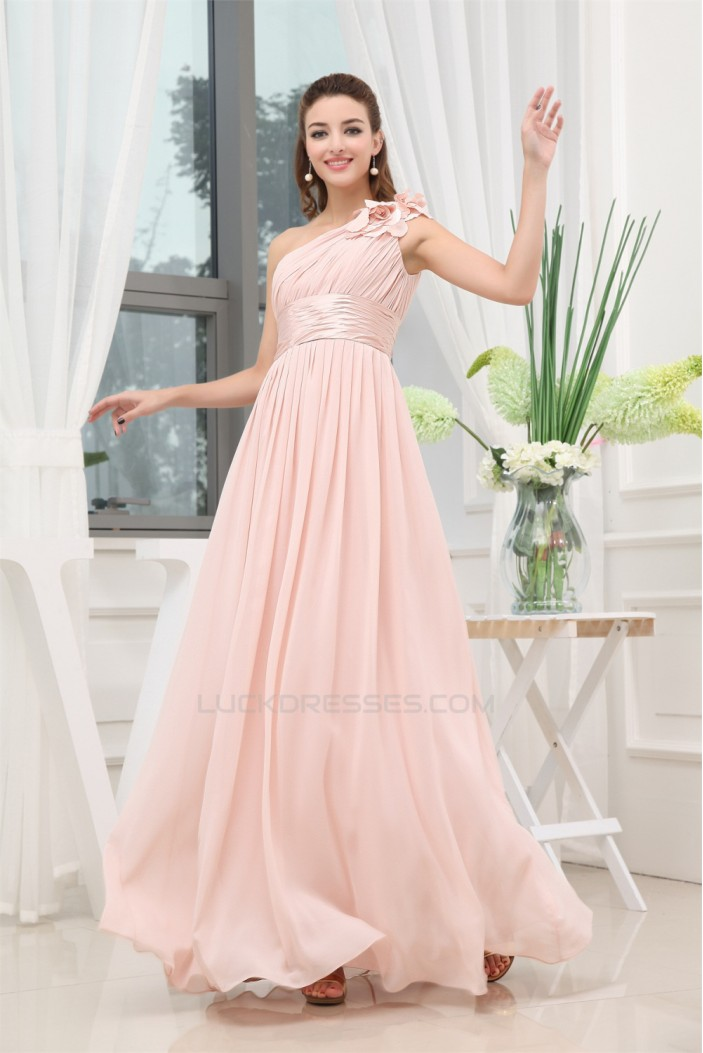 A-Line One-Shoulder Floor-Length Long Pink Chiffon Bridesmaid Dresses 02010016