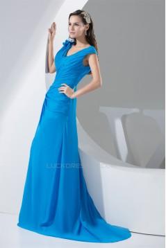 Chiffon V-Neck A-Line Handmade Flowers Long Blue Best Bridesmaid Dresses 02010018