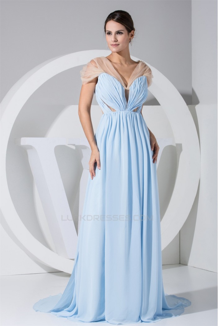 Covered Button Puddle Train A-Line V-Neck Best Bridesmaid Dresses 02010019