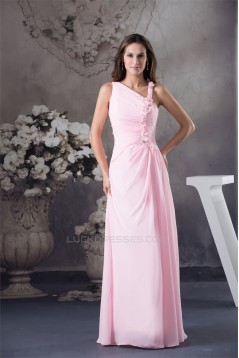 Sheath/Column Long Pink Chiffon Beaded Bridesmaid Dresses 02010021