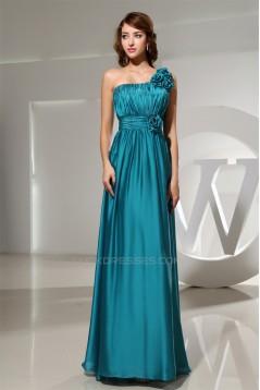 Elastic Woven Satin Floor-Length One-Shoulder Best Bridesmaid Dresses 02010023