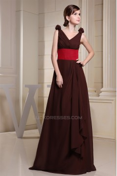 Elegant Sleeveless Chiffon Silk like Satin V-Neck Bridesmaid Dresses 02010026