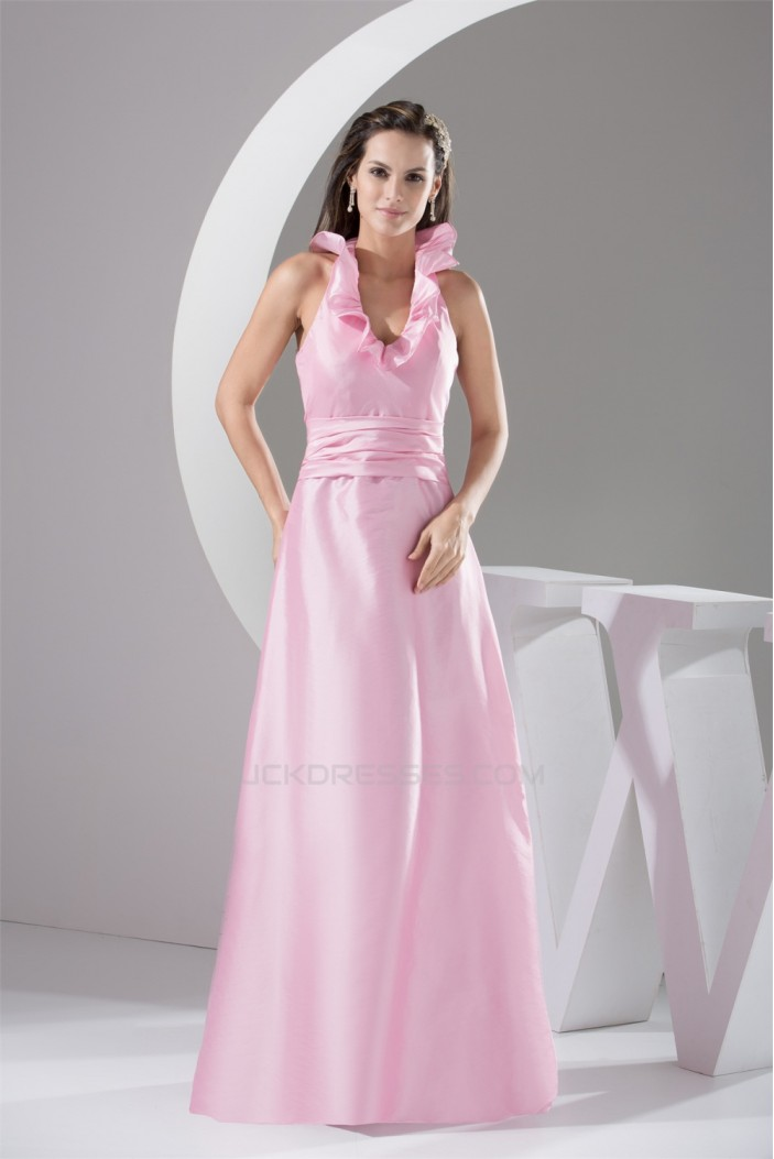 Floor-Length A-Line Halter Sleeveless Ruched Long Pink Bridesmaid Dresses 02010030
