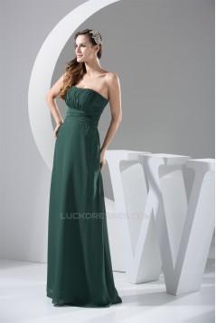 A-Line Floor-Length Chiffon Ruched Sleeveless Long Bridesmaid Dresses 02010031