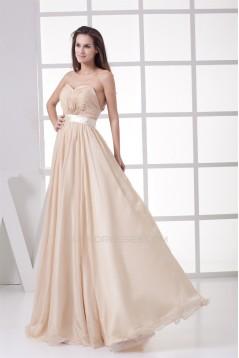 Floor-Length Chiffon Silk like Satin A-Line Long Bridesmaid Dresses 02010032