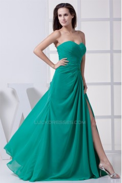 Floor-Length Chiffon Beading Long Green Bridesmaid Dresses 02010033