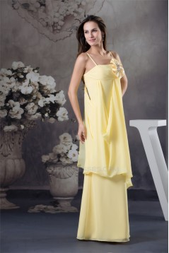 Sheath/Column Floor-Length Spaghetti Strap Chiffon Long Yellow Bridesmaid Dresses 02010035